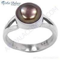 Delicate Brown Pearl Sterling Silver Ring