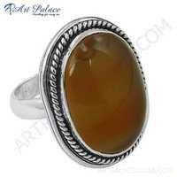 Vintage Designer Yellow Agate Gemstone Sterling Silver Ring