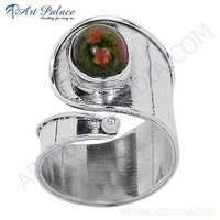 Stylish Unakite Gemstone 925 Sterling Silver Ring