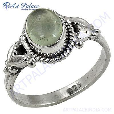 Indain Designer Prenite Gemstone Silver Ring