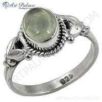 Indain Designer Prenite Gemstone Silver Ring