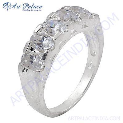 Charming Cubic Zirconia Gemstone Silver Ring
