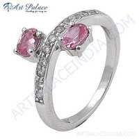 Girls Fashionable Pink & White Cubic Zirconia Gemstone Silver Ring