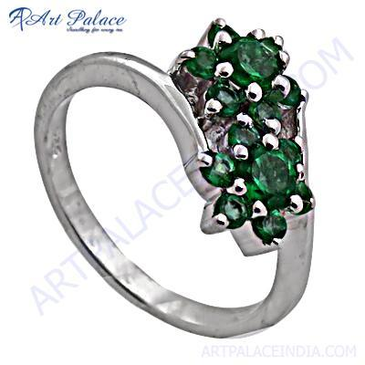Double Flower Style Appetite Gemstone Silver Ring