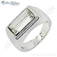 Classic Crystal Gemstone Sterling Silver Ring