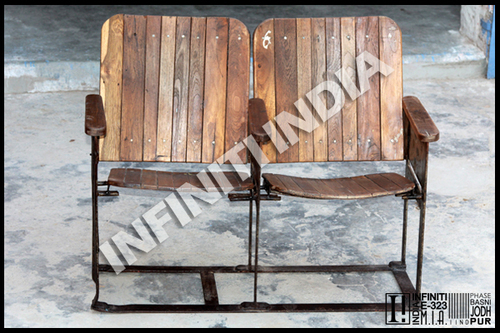Vintage Industrial Cinema Bench