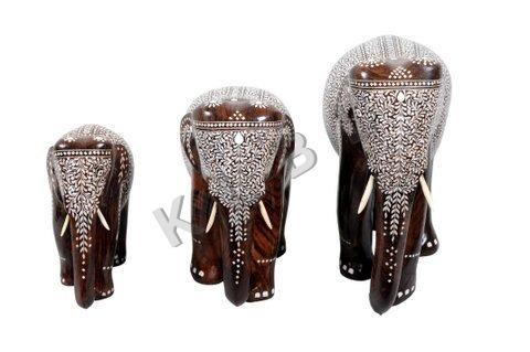 Wooden Inlaid Elephants