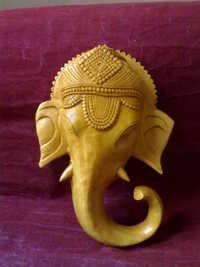 Wooden Ganesha head