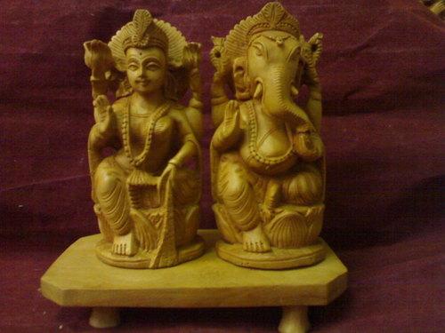Laxmi Ganesh Wooden Statue