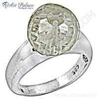 Celeb Style Crystal Gemstone Sterling Silver Ring