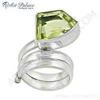 Newest Style Lemon Quartz Gemstone Silver Ring