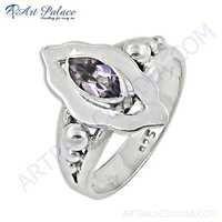 Latest Fashion Amethyst Gemstone Silver Ring