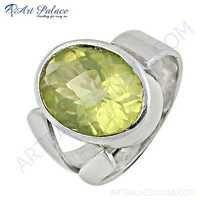 Charming Lemon Quartz Gemstone Silver Ring