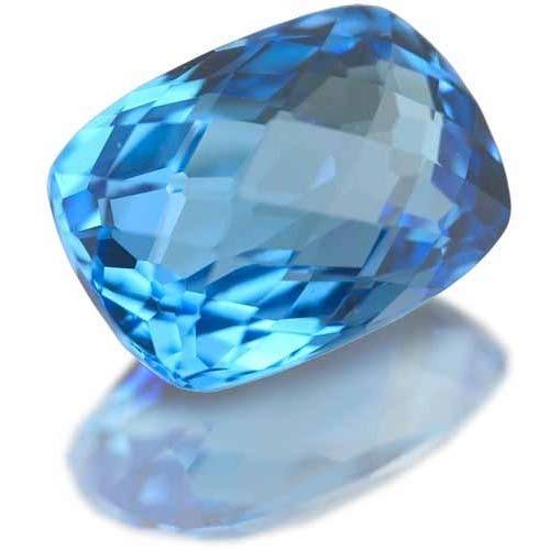 cushion briolite topaz, natural blue color gemstone, cushion shaped pleasant colored stone
