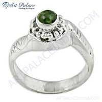 Indian Designer Peridot Gemstone Silver Ring
