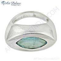 Delicate Blue Topaz Gemstone Silver Ring