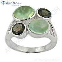 Party Wear Prenite & Smokey Quartz Gemstone Silver Ring