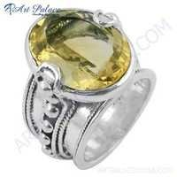 Classic Citrine Gemstone Designer Sterling Silver Ring