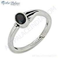 Delicate Gemstone Silver Ring With Black Onyx