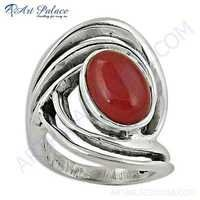 Antique Style Red Onyx Gemstone Silver Ring