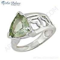 Classic Green Amethyst Gemstone Fret Work Sterling Silver Ring