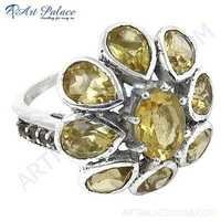 Charming Flower Style Citrine Gemstone Silver Ring