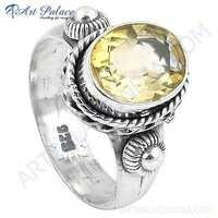 Indian Touch Citrine Gemstone Silver Ring