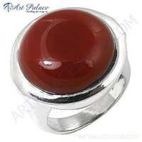 Hot Large Red Onyx Gemstone Silver Ring