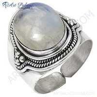 Traditional Designer Rainbow Moonstone Silver Ring