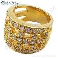 Party Wear Designer Cubic Zirconia Gemstone Gold Plated Silver Ring