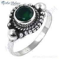 Truly Designer Green Onyx Gemstone Silver Ring