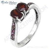 Latest Fashion Garnet & Pink Cubic Zirconia Gemstone Silver Ring