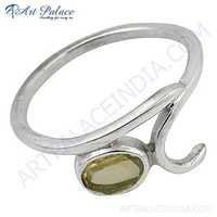 Fashionable Citrine Gemstone Silver Ring