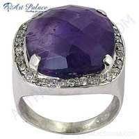 Party Wear Designer Amethyst & Cubic Zirconia Gemstone Silver Ring