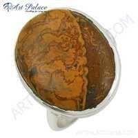 Elegant Jasper Gemstone Silver Ring