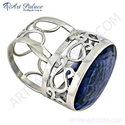 Fret Work Designar Blue Glass Gemstone Silver Ring