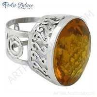 Charming Yellow Glass Gemstone Fret Designer Silver Ring
