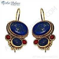 Traditional Designer Coral & Lapis Gemstone Silver Earrings