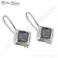 Lovely Rose Quartz Gemstone Silver Earrings