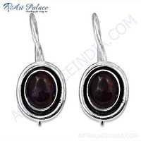 Indian Touch Garnet Gemstone Silver Earrings