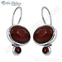 Celeb Style Carnelian Gemstone Sterling Silver Earrings
