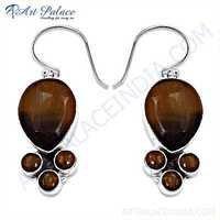 Delicate Tiger Eye Gemstone Silver Earrings
