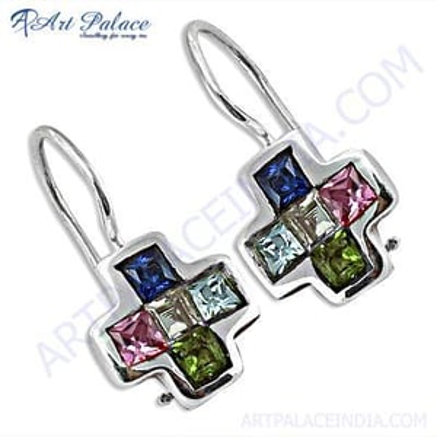 Cross Style Gemstone Silver Earrings  With Multi Stone