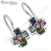 Cross Style Gemstone Silver Earrings  With Multi Stone
