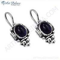 Indian Touch Amethyst Gemstone Silver Earrings