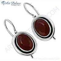 Indian Deisgner Gemstone Silver Earrings With Carnelian