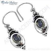 Famous Design Rainbow Moonstone Silver Earrings