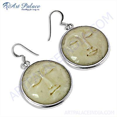 Trendy Bone Gemstone Silver Earrings