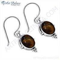 Girls Fashionable Tiger Eye Gemstone Silver Earrings