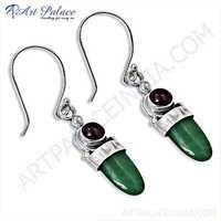 Feminine Unique Green Aventurian & Tourmaline Gemstone Silver Earrings